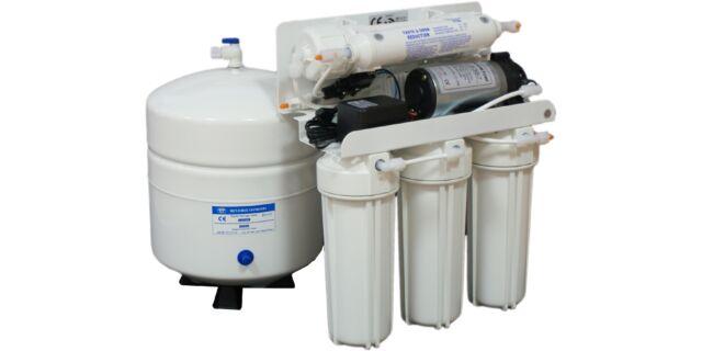 BlueClear-RO-100-P Fordított ozmózis elvű háztartási víztisztító berendezés nyomástartállyal, nyomásfokozó pumpával, csapteleppel